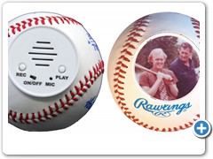 TALKING AUTOGRAPH ELECTRONIC BASEBALLS.....allow players, parents, grandparents and coaches to record congratulations and praise messages inside the balls plus get a photo and autograph on the ball.