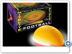 NITELITE FOOTBALL....lights up for nitetime fun in the backyard, on the beach, camping and on the college campus.