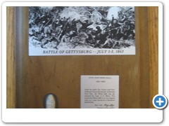 CIVIL WAR BULLET ENGRAVED PLAQUE -  walnut plaque with an engraved battle scene of the BATTLE OF GETTYSBURG and a real Civil War bullet.
